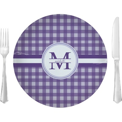 "Gingham Print 10"" Glass Lunch / Dinner Plates - Single or Set (Personalized)"