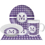 Gingham Print Dinner Set - 4 Pc (Personalized)