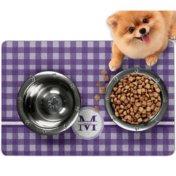 Gingham Print Dog Food Mat - Small w/ Name and Initial