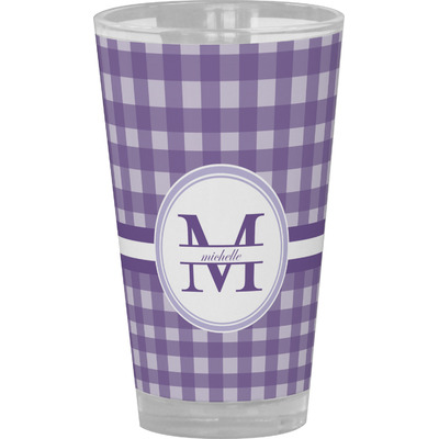 Gingham Print Drinking / Pint Glass (Personalized)