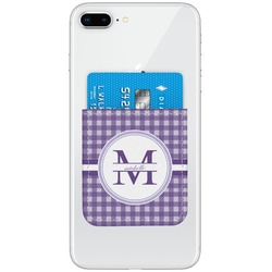 Gingham Print Genuine Leather Adhesive Phone Wallet (Personalized)