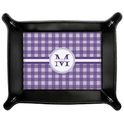 Gingham Print Genuine Leather Valet Tray (Personalized)