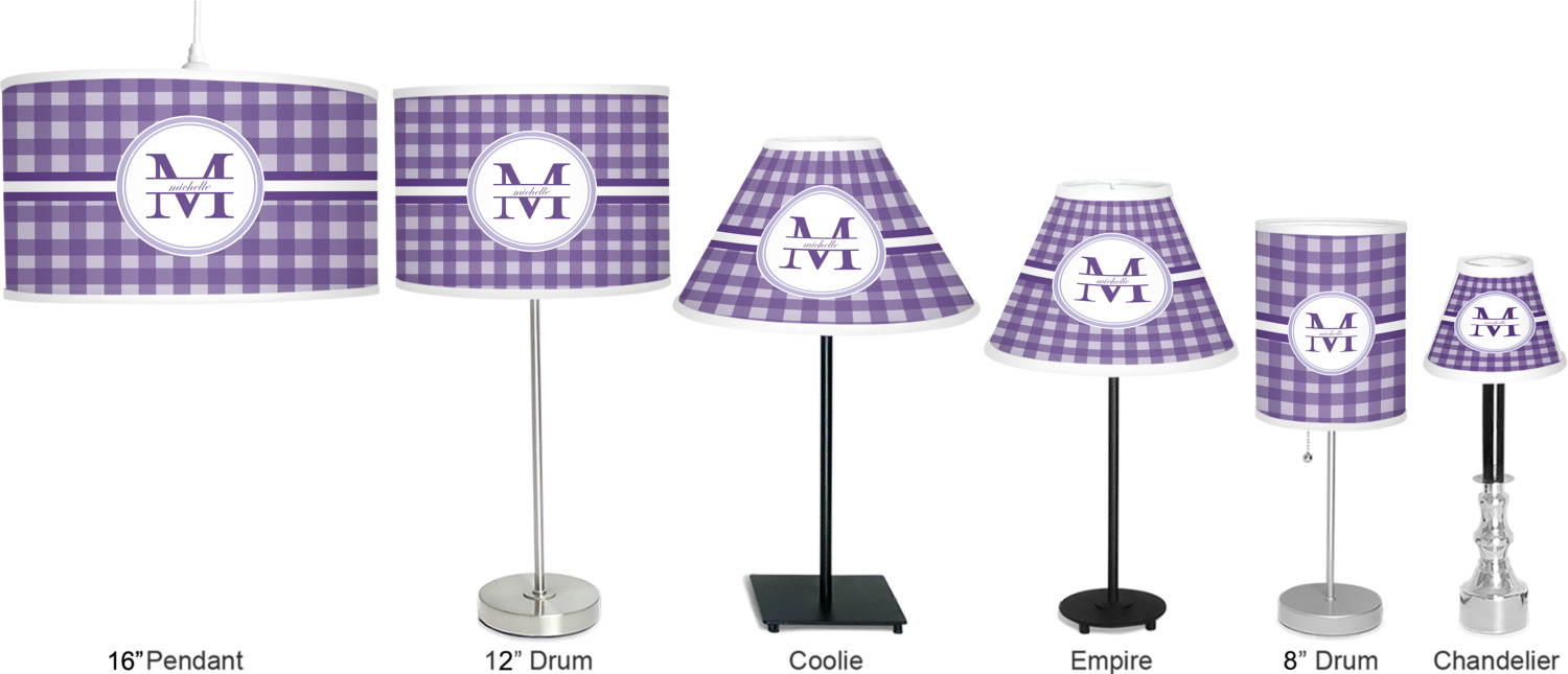 Gingham Print Lamp Full View Size Comparison