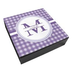 Gingham Print Leatherette Keepsake Box - 8x8 (Personalized)