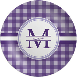 Gingham Print Melamine Plate (Personalized)