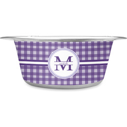 Gingham Print Stainless Steel Pet Bowl (Personalized)