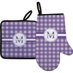 Gingham Print Oven Mitt & Pot Holder (Personalized)