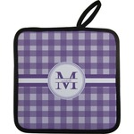 Gingham Print Pot Holder w/ Name and Initial