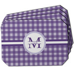 Gingham Print Dining Table Mat - Octagon w/ Name and Initial