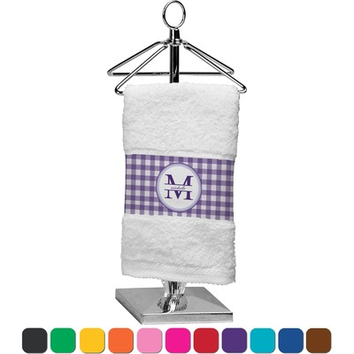 Gingham Print Finger Tip Towel (Personalized)