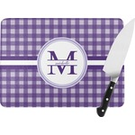 Gingham Print Rectangular Glass Cutting Board (Personalized)