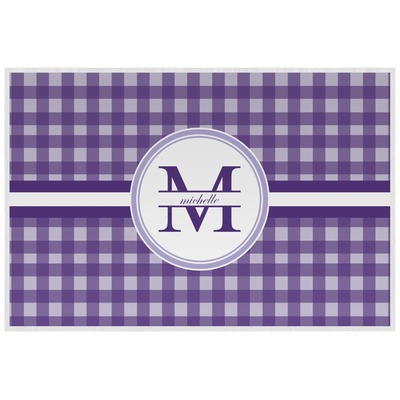 Gingham Print Laminated Placemat w/ Name and Initial