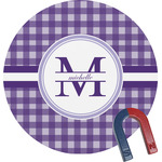 Gingham Print Round Magnet (Personalized)