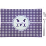 Gingham Print Glass Rectangular Appetizer / Dessert Plate - Single or Set (Personalized)