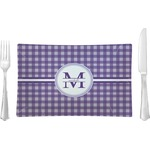 Gingham Print Glass Rectangular Lunch / Dinner Plate - Single or Set (Personalized)