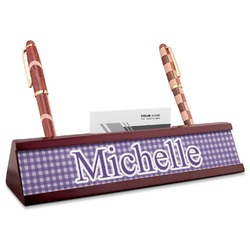 Gingham Print Red Mahogany Nameplate with Business Card Holder (Personalized)