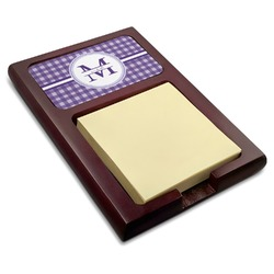 Gingham Print Red Mahogany Sticky Note Holder (Personalized)