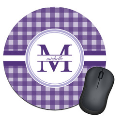 Gingham Print Round Mouse Pad (Personalized)