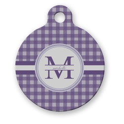 Gingham Print Round Pet ID Tag (Personalized)