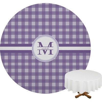 Gingham Print Round Tablecloth (Personalized)