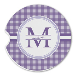 Gingham Print Sandstone Car Coasters (Personalized)