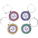 Gingham Print Wine Charms (Set of 4) (Personalized)