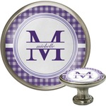 Gingham Print Cabinet Knob (Silver) (Personalized)