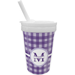 Gingham Print Sippy Cup with Straw (Personalized)