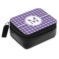 Gingham Print Small Leatherette Travel Pill Case (Personalized)