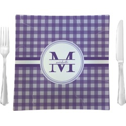 "Gingham Print Glass Square Lunch / Dinner Plate 9.5"" - Single or Set of 4 (Personalized)"