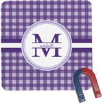 Gingham Print Square Fridge Magnet (Personalized)