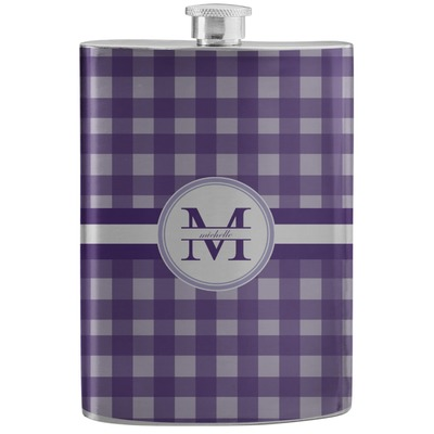Gingham Print Stainless Steel Flask (Personalized)