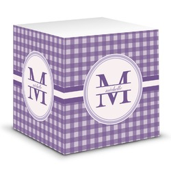 Gingham Print Sticky Note Cube (Personalized)