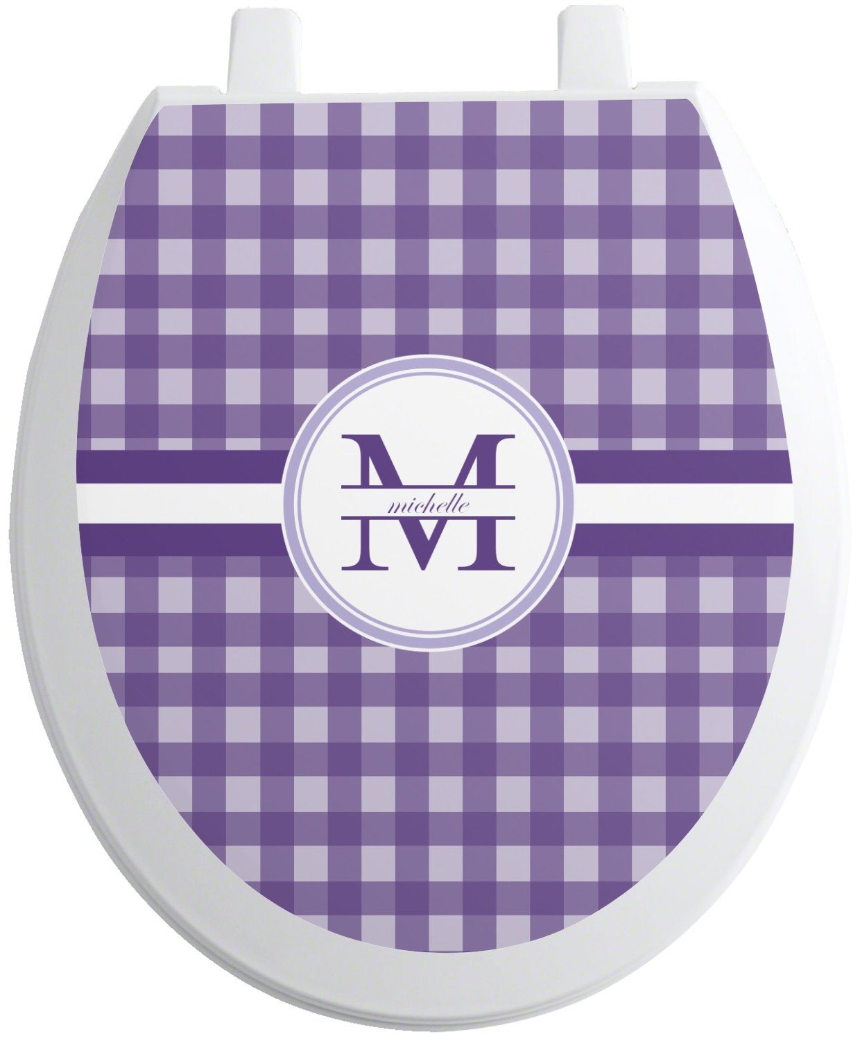 Astounding Gingham Print Toilet Seat Decal Personalized Theyellowbook Wood Chair Design Ideas Theyellowbookinfo