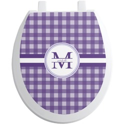 Gingham Print Toilet Seat Decal - Round (Personalized)