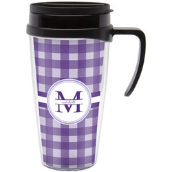 Gingham Print Travel Mug with Handle (Personalized)