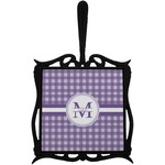 Gingham Print Trivet with Handle (Personalized)