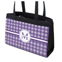 Gingham Print Zippered Everyday Tote w/ Name and Initial
