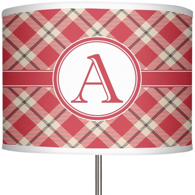 """Red & Tan Plaid 13"""" Drum Lamp Shade (Personalized)"""