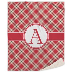 Red & Tan Plaid Sherpa Throw Blanket (Personalized)