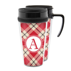 Red & Tan Plaid Acrylic Travel Mugs (Personalized)