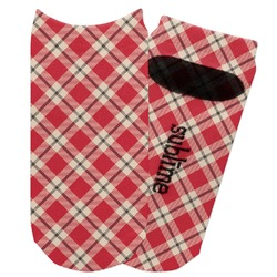 Red & Tan Plaid Adult Ankle Socks (Personalized)