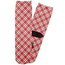 Red & Tan Plaid Adult Crew Socks (Personalized)