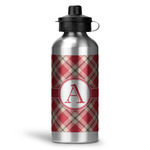 Red & Tan Plaid Water Bottle - Aluminum - 20 oz (Personalized)