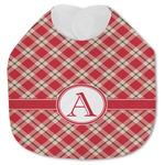 Red & Tan Plaid Jersey Knit Baby Bib w/ Initial