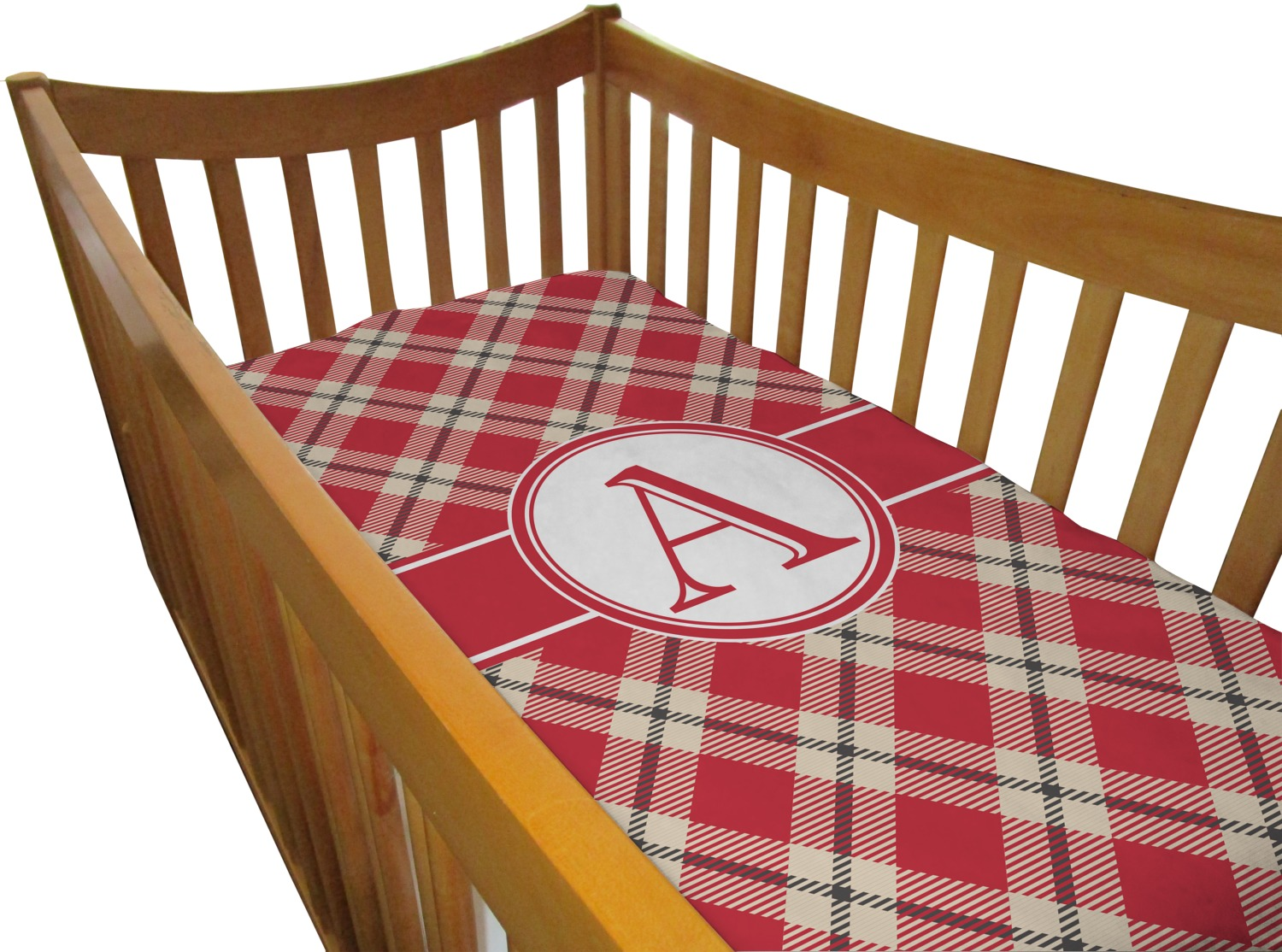 Plaid Baby Quilt: Red & Tan Plaid Crib Comforter / Quilt (Personalized