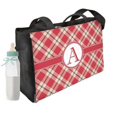 Red & Tan Plaid Diaper Bag w/ Initial