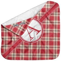 Red & Tan Plaid Baby Hooded Towel (Personalized)