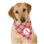 Red & Tan Plaid Dog Bandana Scarf w/ Initial