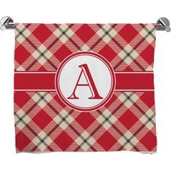 Red & Tan Plaid Full Print Bath Towel (Personalized)